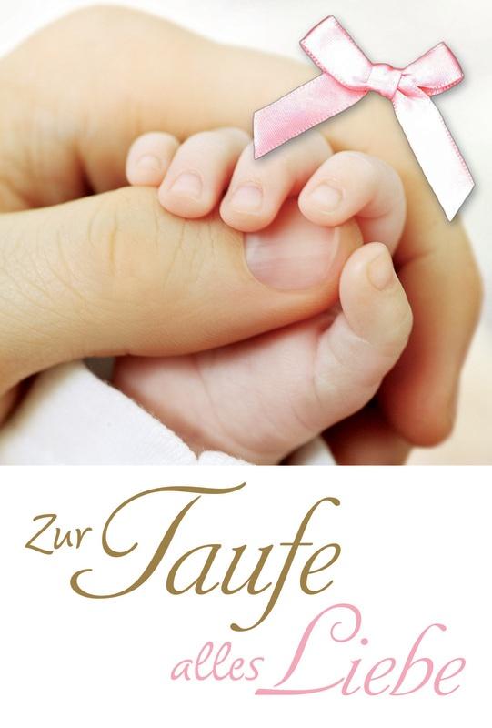 Faltkarte 39 zur taufe alles liebe 39 h nde und rosa schleife for Garderobe zur taufe